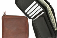 Brown Mens Bifold Zip Around Safe Coin Change 100% Genuine Leather Cards Wallet