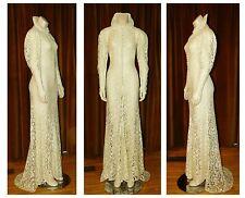 Vintage 1930's Sheer NET LACE Wedding Gown BIAS CUT Dress Train
