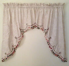 Ivory Beige Rose Floral Swag Curtains 70 x 39 Burgundy Pink Scalloped Trim