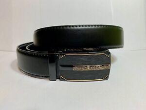 Mens Pavini Adjustable Ratchet Belt Black Syn Leather Gold Greek Buckle