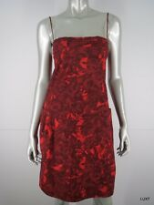 NWT $875 LIDA BADAY Red Floral Print Cotton Sheath Dress 4 S NEW
