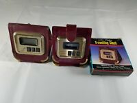 2 Vintage Wallet Style LCD Digital Travel Clocks Pierre Cardin American General