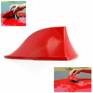 Shark Fin ABS Antenna Aerial FM/AM Radio Signal Color Red Universal No drilling
