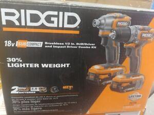 RIDGID R9780 18V SubCompact Drill Driver & Impact Driver Combo Kit Cordless