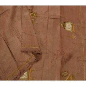 Tcw Sanskrit Vintage Brown  Sarees Pure Silk Hand Beaded 5Yd Craft Fabric Sari