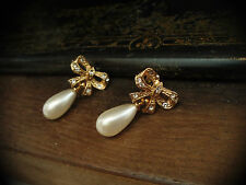 Vintage Crystal Bow and Pearl Drop Pierced Earrings. 22ct Gold Plated