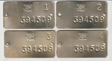 Lot of 4 Unused Ontario Mining Claim Post Metal Tags- Posts 1,2,3,4 - Exc. Cond.