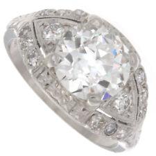 2.62ct GIA Certified  Old European Cut Diamond Platinum Antique Engagement Ring
