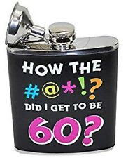 """Four Seasons """"How the #at!? Did I Get to be 60?"""" Flask, Black #374305"""
