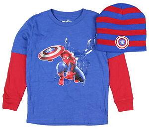 Marvel Boys' Spiderman Shield Long Sleeve T-Shirts/Beanie Combo: XS-XL