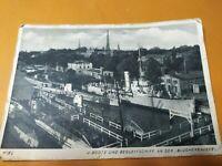 Postkarte 2.WK Feldpost U-Boote und Begleitschiff a. d. Blücherbrücke 1941 Kiel
