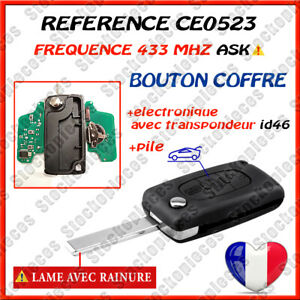 CLE VIERGE CE0523 ASK BOUTON COFFRE COMPATIBLE PEUGEOT 207 307 308 407 EXPERT