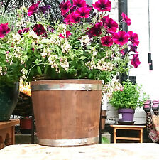 Sólido Madera Barril Tiesto, madera flor olla hogar, Decoración Jardín 50 litros