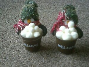 3 x Snowman with snowballs in bucket - Christmas decoration