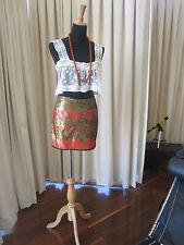 New Dotti Mini Skirt   Fully Sequined   Orange / Bronze   Sz 10   $130 RRP