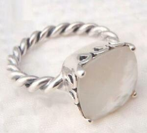 Pandora Elegant Sincerity, Twist Ring, Sterling silver,Mother of Pearl Ring,