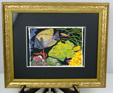 Barbara Wallace GARDEN BENEATH THE SEA Framed Glass Matted Print Fish & Coral