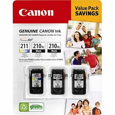 3 PACK   Canon PG-210XL and CL-211 Combo Printer Ink Cartridges Black & Tricolor