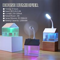 3 in 1 Mini House Air Humidifier Fan Night Light Home Office USB Purifier