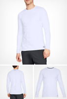 Under Armour Under Armour ColdGear Fitted Crew Shirt, White, Size M