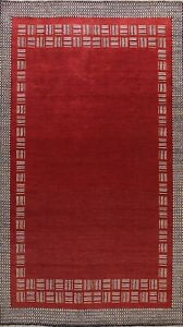 Bordered RED Gabbeh Oriental Area Rug Wool Hand-knotted Contemporary Carpet 6x10