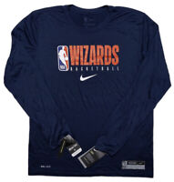 NIKE Washington Wizards NBA Dri-Fit Long Sleeve Shirt Blue Medium M ~ New