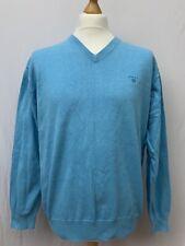 Mens | Gant V Neck Cotton Jumper Sweater | Blue | Size XL