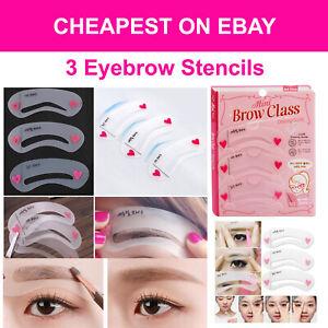 3 Eyebrow Stencils Grooming Shaper Kit Brow Template Makeup Reusable Tools