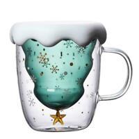 Weihnachtsbaum Star Water Cup 300ml Doppelschichtglas Qualität Hohe J8C6