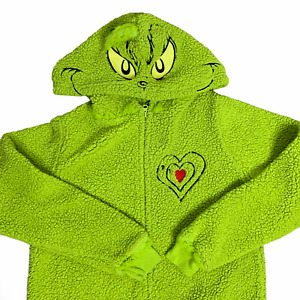 Dr Seuss Grinch Fleece Union Suit Youth L Green One Piece Zip Hood Embroidered