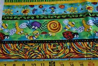 By 1/2 Yd, Bright Colorful Bug Stripes on Quilt Fabric, Timeless Treasures N4356