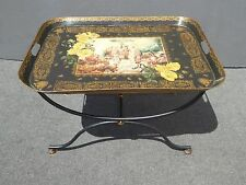 Gorgeous Black Side Tray Table w Stand End Table Hand Forged Table Made n Mexico