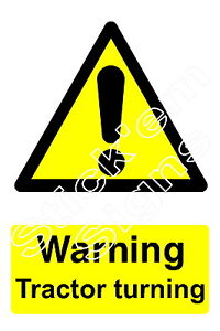 Warning Tractor turning - COUN2004 stickers & signs