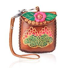 Women Pink Flower Brown Coin Leather Purse Wallet Handbag Charm Keychains LW2