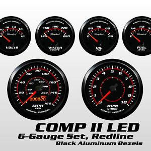 C2 Redline 6 Gauge Set, Black Bezels, 20-150 Ohm Fuel Level, Electric Speedo