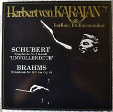 Von Karajan Berliner Phil Schubert Symphonie Nr 8 Unvollendete Brahms No 3 LP NM