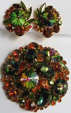 Juliana Vintage ESPECTACULAR Naranja Verde Diamante Imitacion RIVOLI Vidrio pin