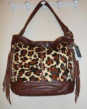 B Makowsky Natural Cow Hair & Glove Leather Leopard Bucket Hobo Handbag NWT