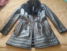 Genuine Versace leather fur  jacket coat 40