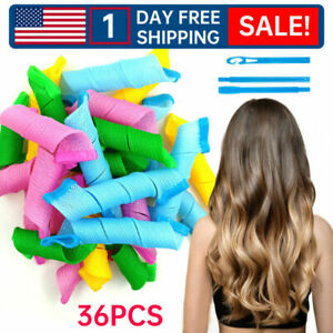36x DIY Spiral Curls No Heat Wave Long Hair Curlers Styling Kit Tool Magic US L9