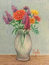 colored pencil  original drawing flowers