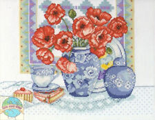 Cross Stitch Kit ~ Design Works Red Poppies in Fine China Floral Vase #DW9672