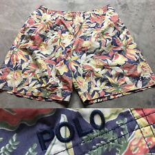 90s VTG POLO SPORT RALPH LAUREN Spell Out Logo XXL Shorts Swim Trunks OG Floral