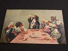 COMIC POSTCARD VIEW OF DOGS DRINKING FROM STEINS