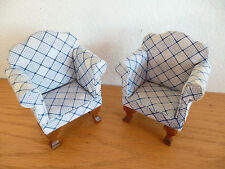 Doll House  2 Upholstered Arm Chairs  White / Blue Print   H 3 5/8  W 2 7/8