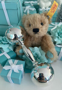 """Tiffany&Co Barbell Baby Rattle Dumbbell Teether Sterling Silver 4.5"""" W Pouch"""