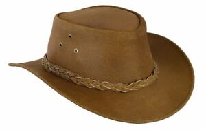 Australian Western Cowboy Style Hat Tan Brown Bush Hat Leather Outback Hat
