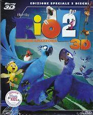 Blu-ray 3D + Blu-ray 2D + Dvd «RIO 2 ♥ MISSIONE AMAZZONIA» nuovo slipcase 2014