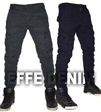 Pantaloni uomo Cargo Tasconi Laterali Slim elasticizzati Jeans nuovo 310