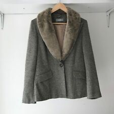 Wallis Womens Grey Winter Coat Jacket with Faux-Fur Collar, AU Size 12 / EURO 40
